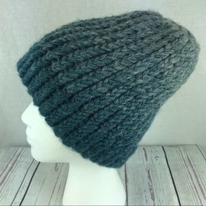 Accessories - Women's homemade gray blue knit hat ponytail hole